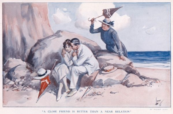 Couple having a secret tryst on a beach, while an elderly aunt or relative brandishes a parasol on discovering them together
