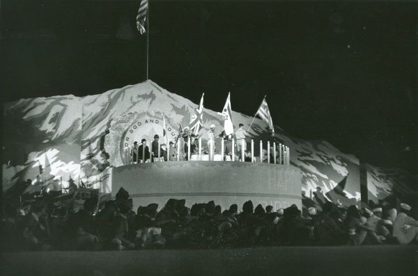 Flags from countries around the world are paraded at the closing show of the National Jamboree which was to celebrate the 50th anniversary of scouting in the USA. The 'Happy Birthday Party' was held at the Grand Arena, Colorado Springs. 1960