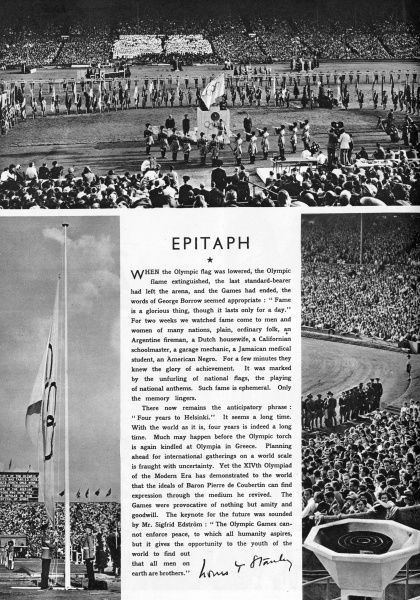 An Epitaph to the Games in Sketch magazine. The photographs feature the lowered Olympic flag and extinguished beacon. Date: 1948