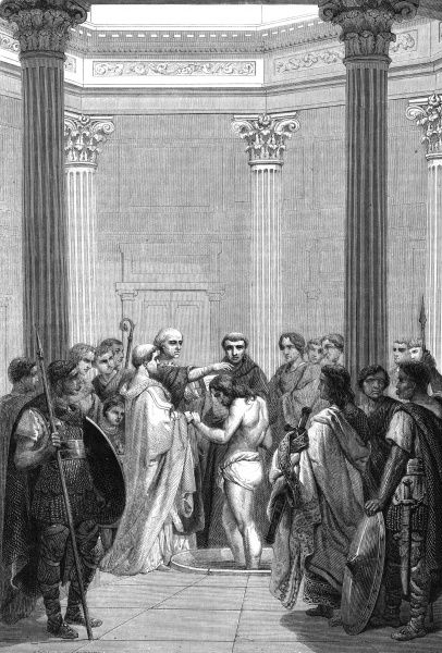 Clovis, Merovingian king of the Franks, converts to Christianity after defeating the Alemanni at TOLBIAC, as he promised his wife Clothilde he would do Date: 25 December 496