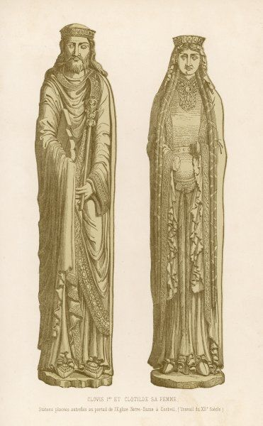 CLOVIS I, KING OF THE FRANKS with his queen, Clotilde