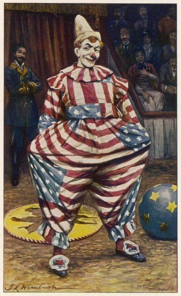A clown wearing an outfit made from 'stars and stripes' fabric (as in the American flag)