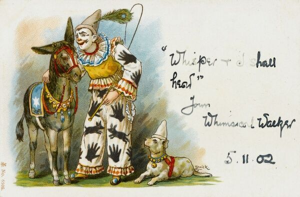 A delightful postcard showing a clown with a decorated donkey and dog