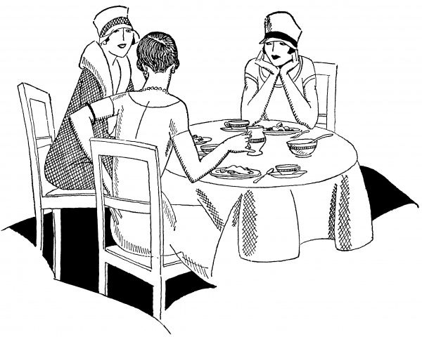 Three stylish young women enjoy coffee, and no doubt a little gossip, at their club