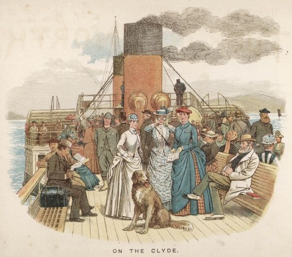 Excursionists on a paddle- steamer on the river Clyde, Scotland