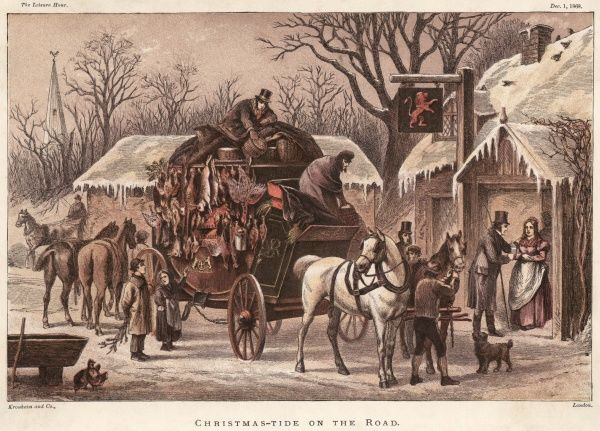 A coach laden with hampers and hares, geese and other game halts at the Red Lion pub at Christmas time - and a white Christmas, too !