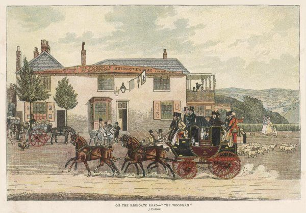 The London to Coventry and Birmingham coach passes The Woodman inn in the Highgate road