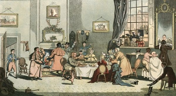 Coach travellers snatch a hasty breakfast during a stop at a country inn. Date: circa 1830