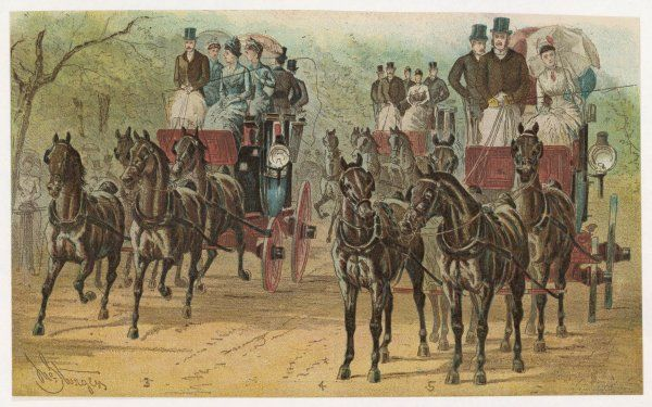 The Coaching Revival : Sir Henry Meysey Thompson, General Dickson and Lord Hothfield with their four-in-hand coaches in Hyde Park - a fashionable social event