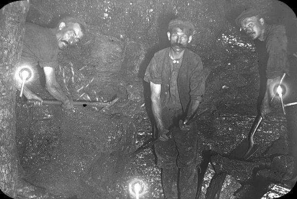 Three coalface workers at Baldwin's Level, near Pontypool, South Wales