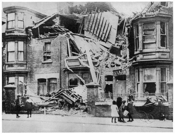 Damage in Hartlepool following bombardment by the German Navy
