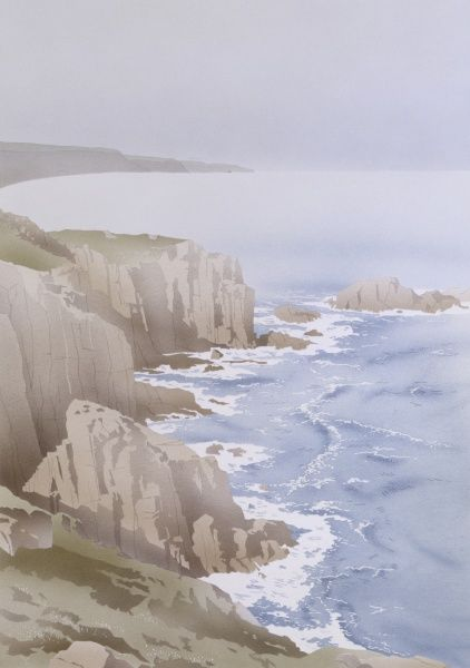 Waves crash on a steep rocky coastline with dark high cliffs. Watercolour painting by Malcolm Greensmith