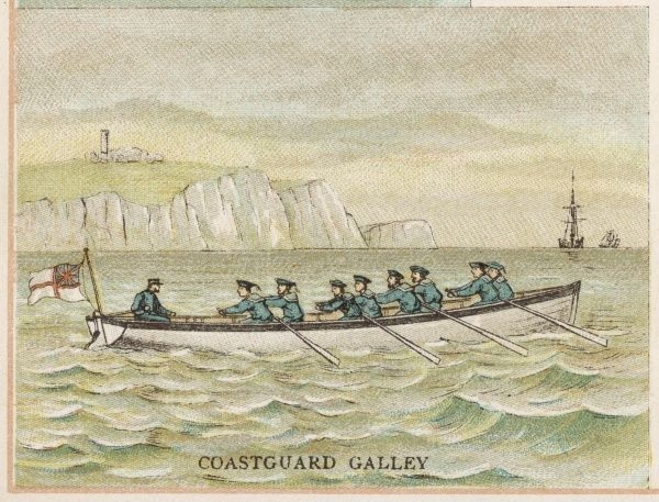 Eight stalwart tars row a coastguard galley, protecting England's shores from invasion by foreign powers