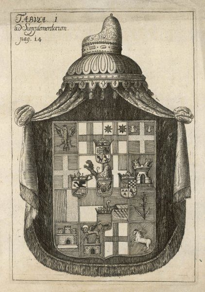 An unidentified coat of arms containing within it small coats of arms with various devices including a crowned eagle, castles, an owl etc all surmounted with a canopy