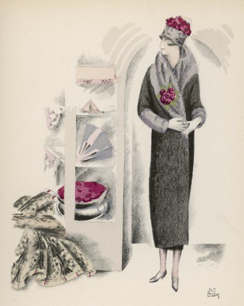 Design by Madeleine Vionnet: 3/4 length wrap over coat with broad grey fur roll collar & deep cuffs, a brimless hat with fur band & textured red crown & a large posy of red flowers