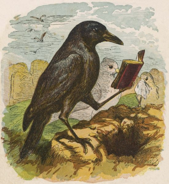 After the unfortunate death of Cock Robin, the Rook reads the burial service