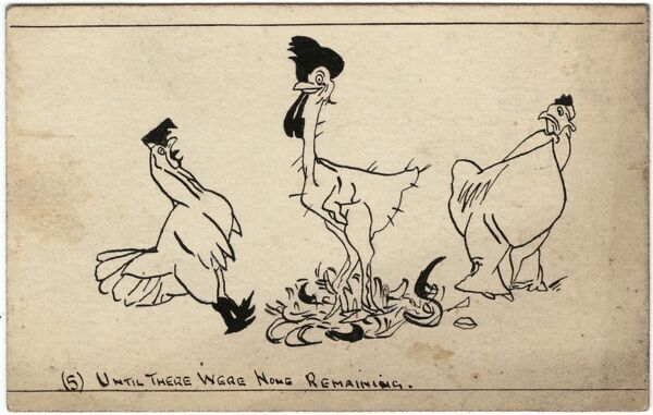 Part five of six drawings showing the Aesop Fable of a man with two wives played out by chickens. Each wife has pulled out the feathers of her choice of colour, now leaving the cockerel completely plucked bald. Drawn on a postcard by George Ranstead