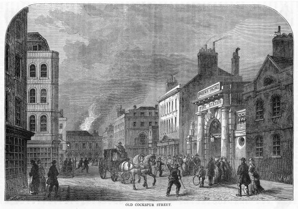On the right is the Fire Station of the Phoenix company - at this time, fire services are provided by independent companies who race one another to the scene of the fire