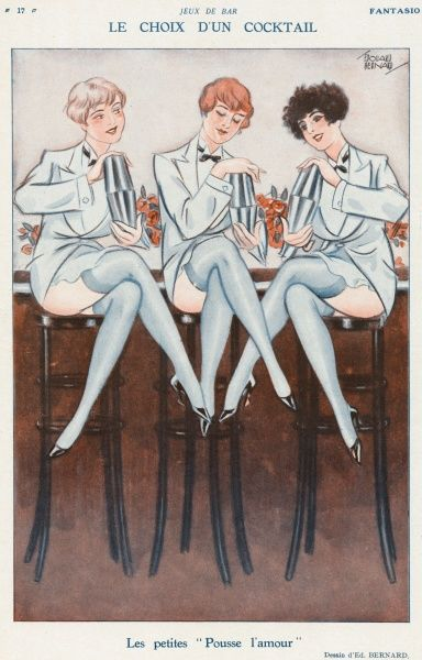 A trio of attractive young bar girls rustle up cocktails in shakers, wearing what may fairly be described as 'revealing' outfits; it's all good for business