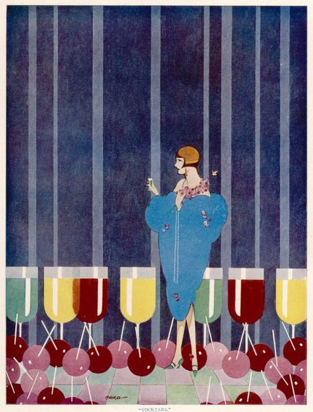 A wonderful, stylised illustration showing a fashionable flapper girl not only drinking a cocktail but hallucinating about them also. Maraschino cherries litter her path and various delicioius drinks are lined up in a colourful row