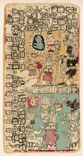 Part of a Calendar used by Maya priests, depicting gods and symbolic creatures Plate xxiii