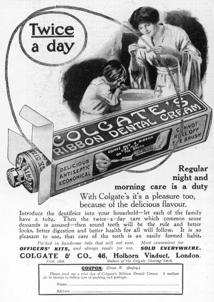 An advertsiement for Colgate's Ribbon Dental Cream, to be used 'Twice a day', and promoted as 'delicious, antiseptic and economical&#39