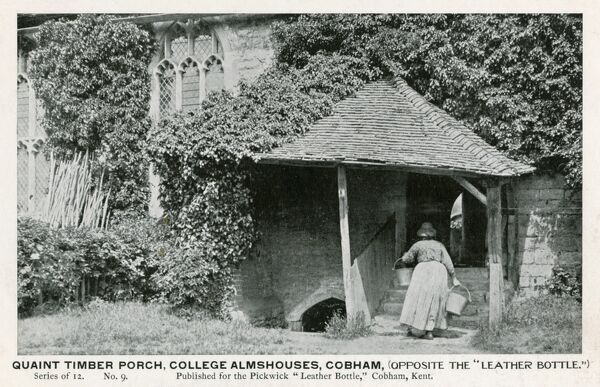 Timber Porch at the College Almshouses, Cobham, Kent. The card was published by the pub ('The Leather Bottle') across the street from the almshouses!