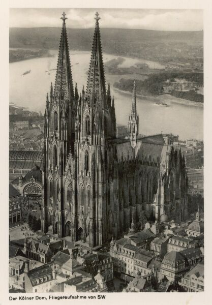 A fine elevated view of the magnificent Cologne Cathedral, taken in the years leading up to World War Two