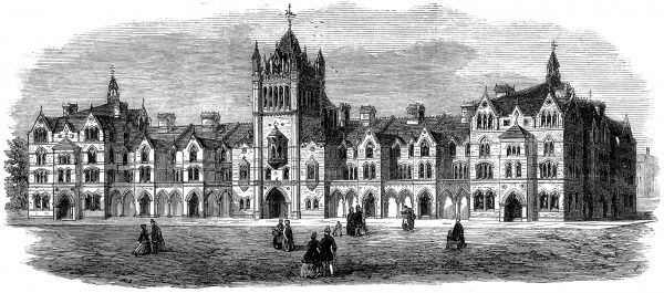 Engraving showing the exterior of Colombia Market, Bethnal Green, London, in 1865
