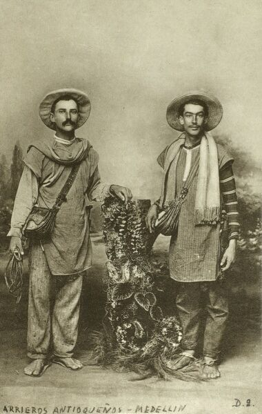 Colombian Drovers (A driver of animals) from the Antioquia Department at the Capital City (of this Department), Medellin. Date: circa 1910s
