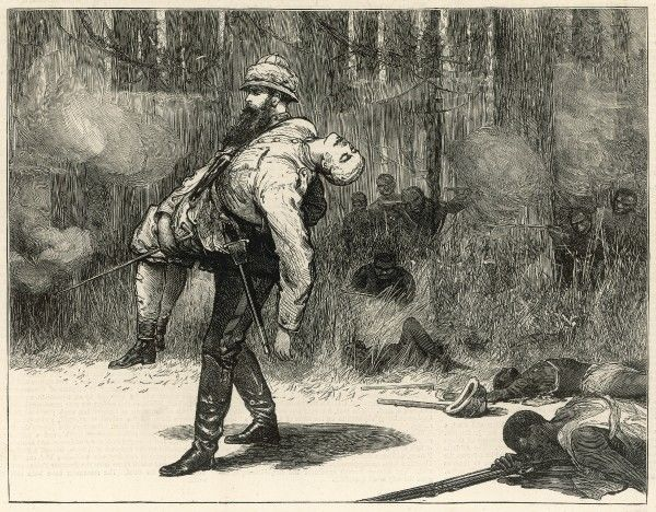 Colonel Francis Worgan Festing (1833-1886), rescuing the body of Lieut. Eardley-Wilmot during the Ashanti War (1873-74) from a sketch by the officer of the expedition. Eardley-Wilmot was shot down by the Ashantees whilst cheering on his men