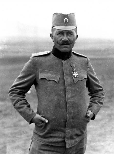 Colonel Nikolaivitch commanding a Serbian Battalion. The Colonel recieved nine wounds and every man under him had been wounded. Date: circa 1916