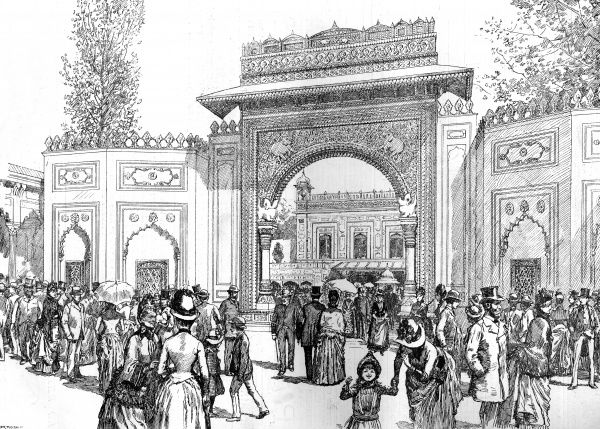The Gwalior gateway, entrance to the courtyard of the Indian Palace, during the Colonial and Indian Exhibition, held in South Kensington, London during Queen Victoria's golden jubilee year