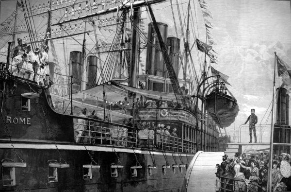 Malays manning the yards of the P & O steam-ship 'Rome' at the Royal Albert Dock in London