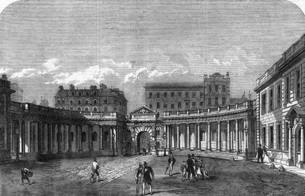 Engraving showing the Colonnade of Burlington House, Piccadilly, London viewed from the house in 1866. Burlington House is the home of the Royal Academy of Arts. Date: 15 September 1866