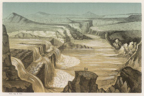 Falls of the Little Colorado River (note the two figures contemplating the spectacle !)