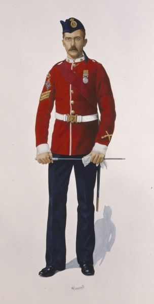 Colour Sergeant of The Duke of Wellington's Regiment (West Riding) 2nd Battalion. The medal he is wearing is the British South Africa Company's medal with the Mashonaland 1897 Bar. Painting by Malcolm Greensmith