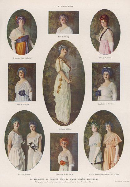 Coloured wigs donned by society ladies for the Duchesse d'Uzes fete include green, turqoise, orange, lilac, purple, blue & red