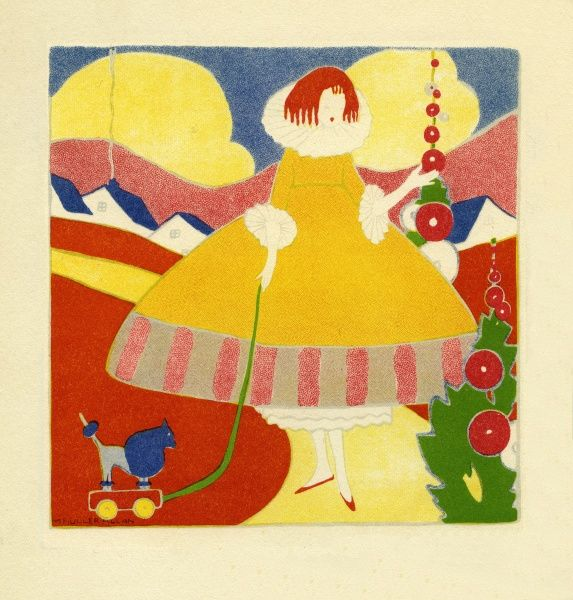 Colours. A girl taking her wooden toy dog for a walk in a world of bright bold colours. Illustration by Marguerite Buller Allan Date: 1917