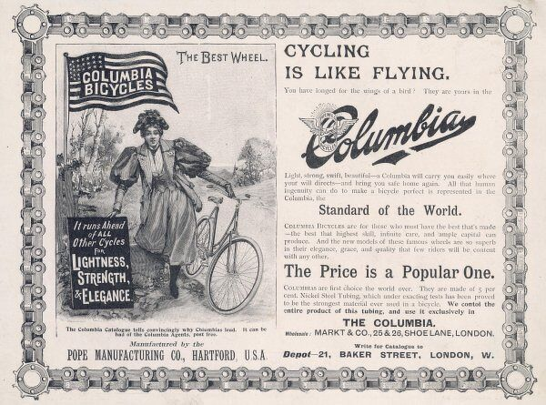 Advertisement for the American 'Columbia' bicycle