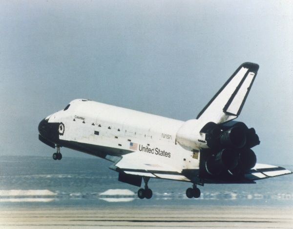 The Columbia Space Shuttle (Orbiter Vehicle Designation OV 102). On its first flight in April 1981, it orbited the earth 36 times. Its last flight was in 2003. Date: photo 1983