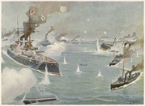 NAVAL ENGAGEMENT in the Tushima Strait - the same location as the decisive battle of the following year