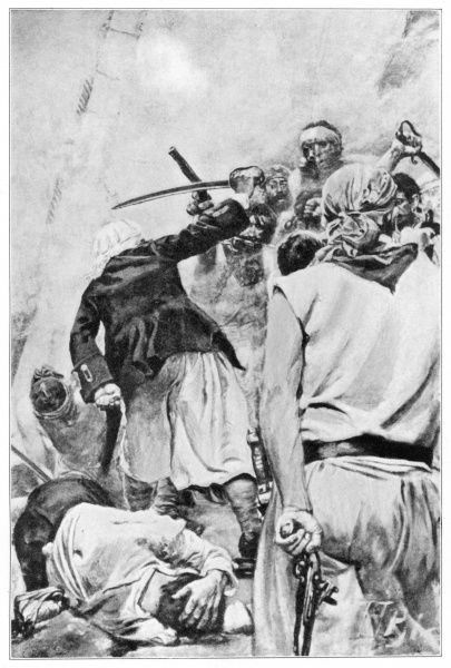 The combatants cut and slashed with savage fury. Illustration from Jack Ballister's Fortunes by Howard Pyle, first published by The Century Company 1894
