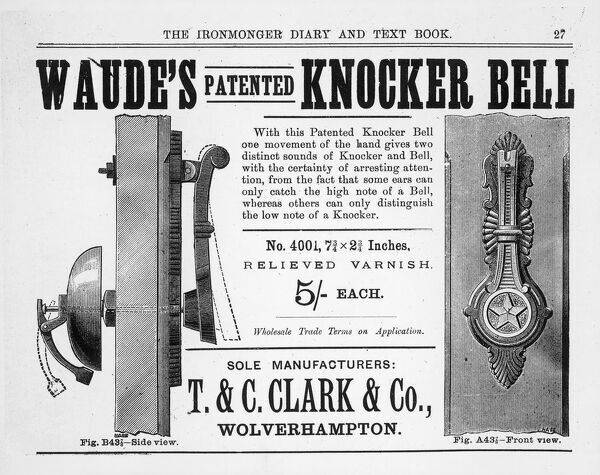 Waude's patented 'Knocker Bell', where one movement of the hand gives the two distinct sounds! Advertisement from a late 19th century trade catalogue