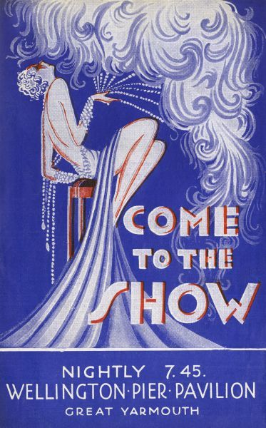 Come to the Show A showgirl with an elaboarte feather fan reclines on a tall bar stool on this fabulous Art Deco programme cover. Date: circa 1920s