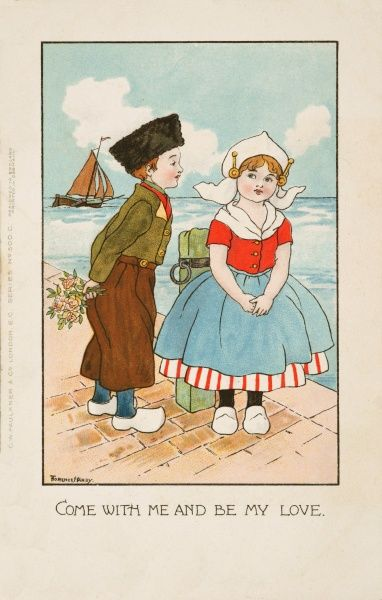 A Dutch boy, flowers in his hand, asks a girl to become his lover by the docks