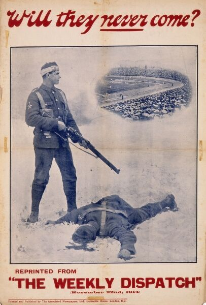 World War One recruitment poster using a photograph from the Weekly Dispatch showing a bloodied and bandaged British soldier who having just dispatched the enemy with his rifle simultaneously imagines the hoards of fit young men at home who could come