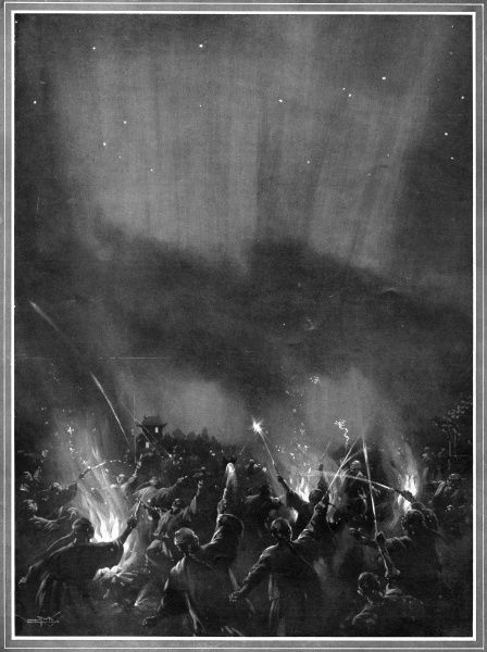 The populace of Tientsin, China, attempt to frighten away a comet by making hostile gestures and noises Date: 1910