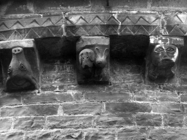 Medieval corbals on the Church of St Mary and St David, Kilpeck, Herefordshire, on the English/Welsh border. To the modern eye they look comical, but would have created fear. Date: 12th century