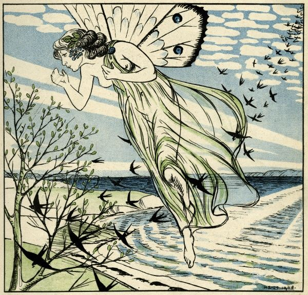 Spring arrives with the swallows Date: 1908